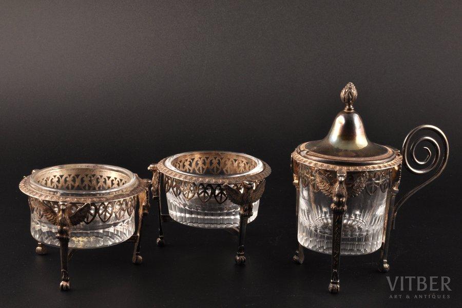 комплект для специй, серебро, стекло, 1-я половина 19-го века, (вес серебра) 271.70 г, Ambroise Mingerot, Париж, Франция, h 5.6 см, 12 см