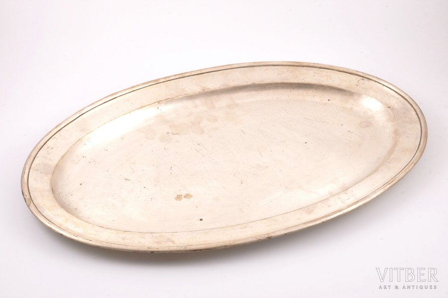 tray, St. Petersburg Metal Factory, silver plated, Russia, the 2nd half of the 19th cent., 50 x 31.2 cm
