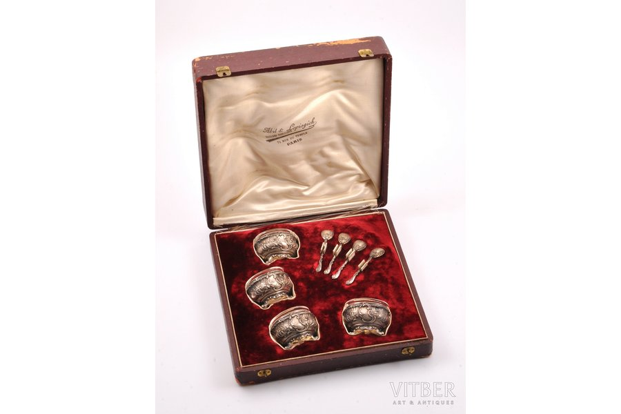 set for spices, silver, 950 standart, 4 salt cellars with spoons, with a glass insert, silver weight 92.80g, France, 5.4 x 4.2 x 3.6 cm, spoon 6.8 cm, in a box