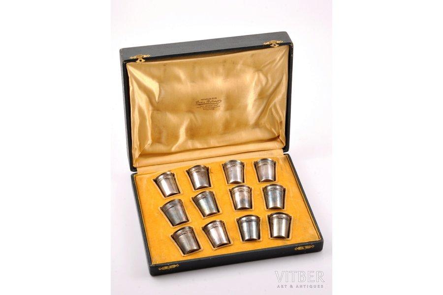 set, silver, 950 standart, 12 beakers, 107.20 g, France, h 4 cm, in a box