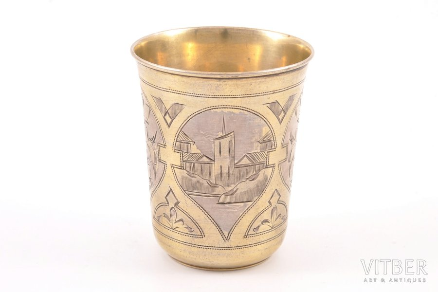 goblet, silver, 84 standart, engraving, gilding, 1887, 60.30 g, by Israel Eseevich Zakhoder, Moscow, Russia, h 7.3 cm