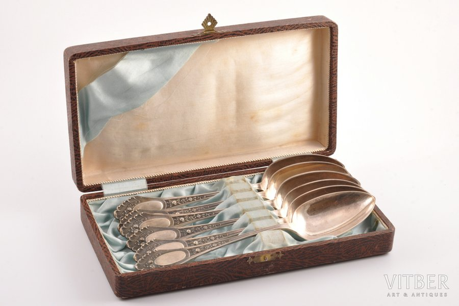 set of 6 spoons, silver, in a case, 875 standart, the 30ties of 20th cent., 392.75 g, Latvia, 21.9 cm