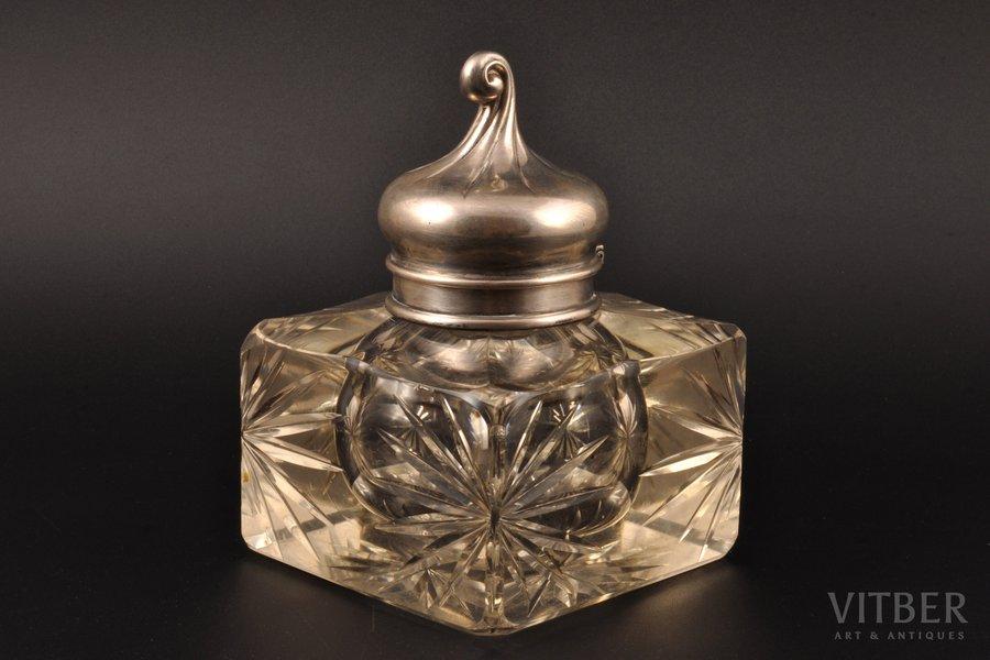 "ink-pot, silver, 84 standart, crystal, 1899-1908, ""Grachev Brothers"", St. Petersburg, Russia, h 14.5 cm"