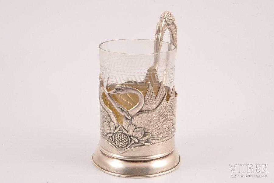 """tea glass-holder, silver, """"Swans"""", 875 standart, 1955, 125 g, Moscow, USSR, Ø (inner) 6.5 cm"""