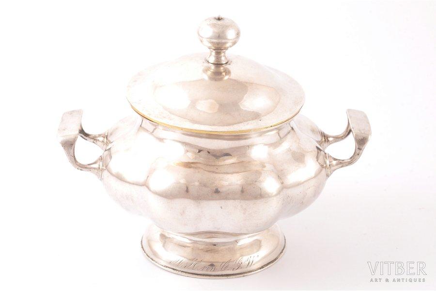 sugar-bowl, silver, 84 standart, gilding, 1851, 333.70 g, by Carl Theodor Beyermann, Riga, Russia, h 12 cm