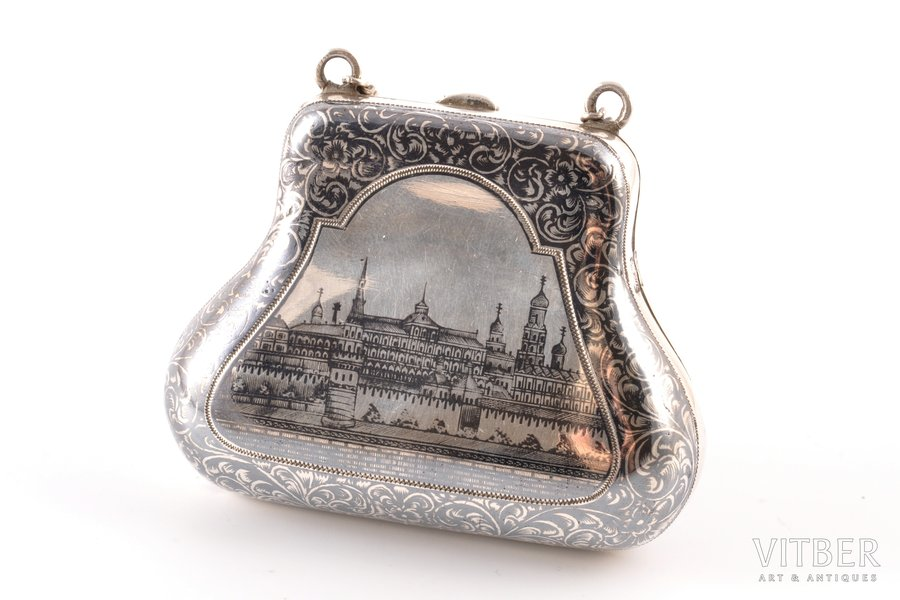 purse, silver, 84 standart, niello enamel, the border of the 19th and the 20th centuries, (total) 52.75 g, Moscow, Russia, 5 x 6.7 x 2.7 cm
