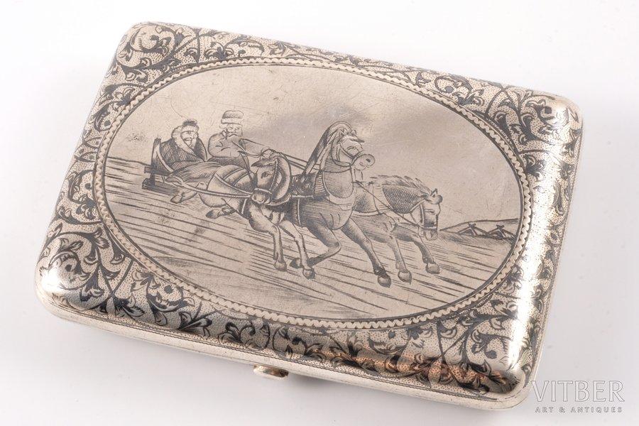 "cigarette case, silver, 84 standart, ""Troyka"", engraving, niello enamel, 1899-1908, 136.35 g, Russia, 10 x 7 x 1.7 cm"