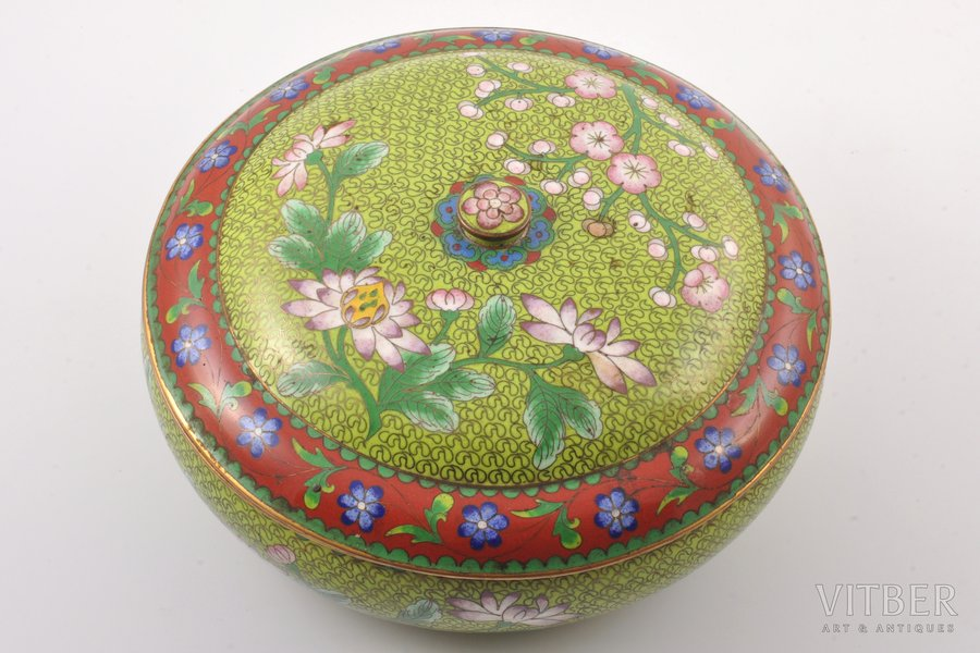 case, metal, enamel, China, the 50ies of 20th cent., Ø 22 cm