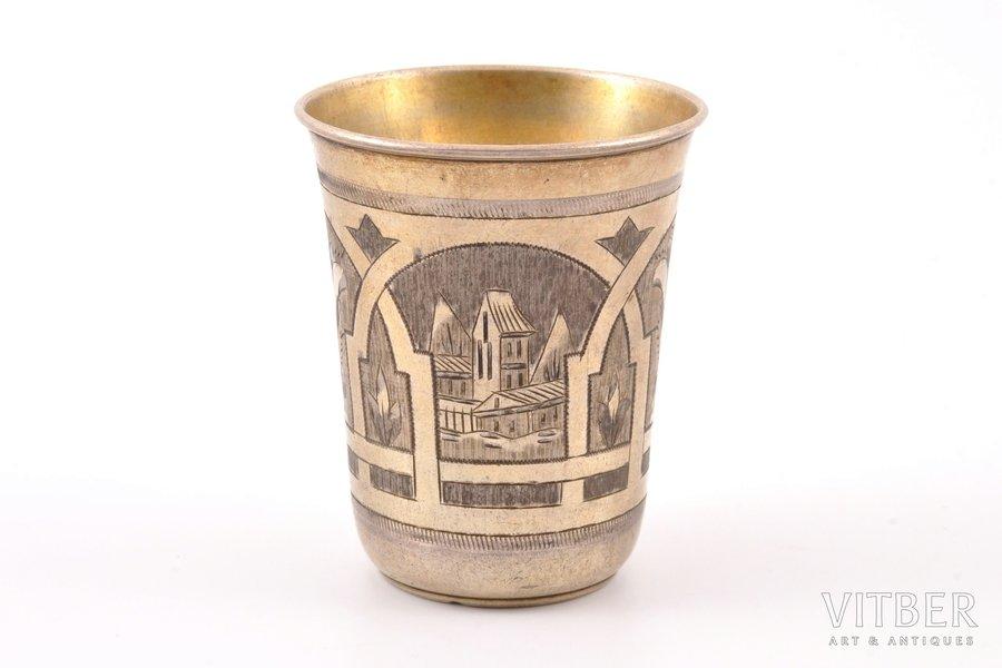 стакан, серебро, 84 проба, штихельная резьба, 1880 г., 53.30 г, Москва, Российская империя, h 6.7 см