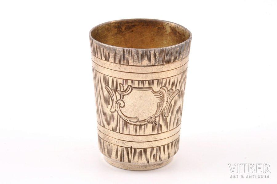 "beaker, silver, 84 standart, ""Bucket"", engraving, 1896-1907, 25.10 g, by Ivan Saltykov, Moscow, Russia, h 4.4 cm"