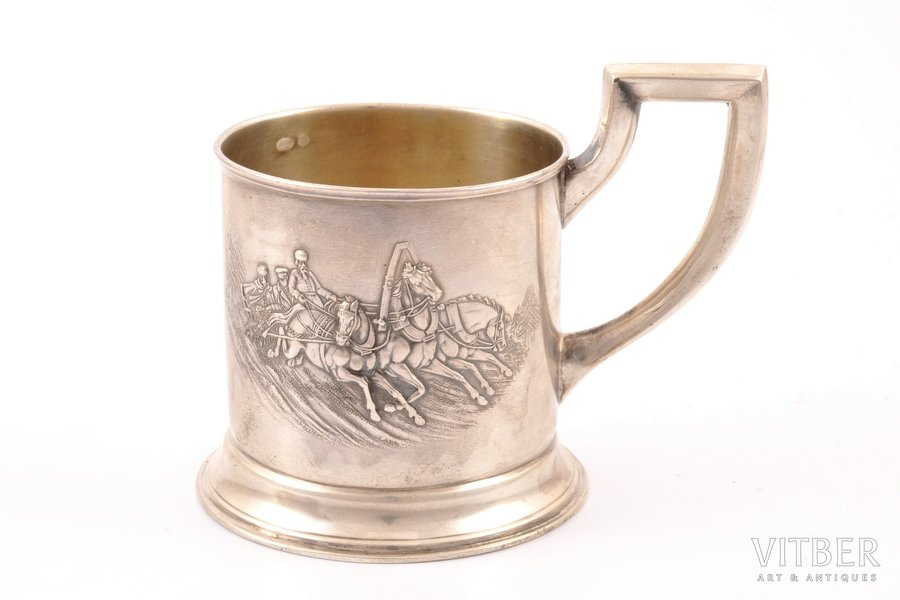"""tea glass-holder, silver, 875 standart, """"Troika"""", the 20-30ties of 20th cent., 108.10 g, H. Bank's workshop, Latvia, h (with handle) 8.7 cm, Ø (inside) 6.4 cm"""