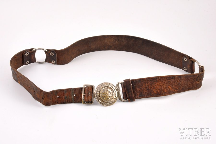 scout belt, LSCO, leather, Latvia, the 30ties of 20th cent., 88 cm