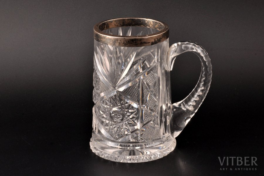 mug, silver, 875 standart, crystal, the 20-30ties of 20th cent., Latvia, h 14.2 cm