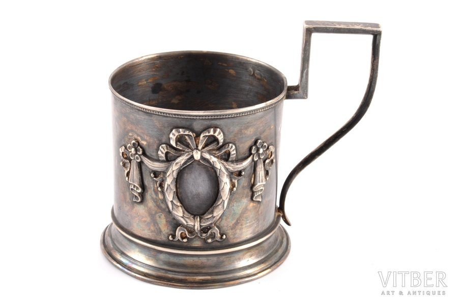 tea glass-holder, silver, 875 standart, the 20ties of 20th cent., 93.15 g, by Richard Muller, Latvia, h (with handle) 9.2 cm, Ø (inside) 6.4 cm