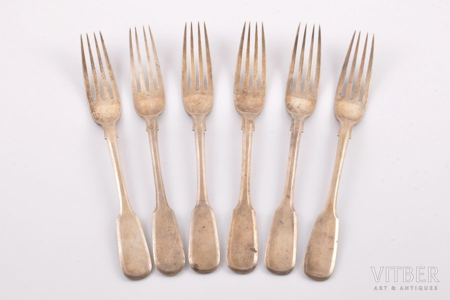 set of 6 forks, silver, 84 standart, 1887, 414.15 g, workshop of Pavel Ovchinnikov, Moscow, Russia, 20.5 cm