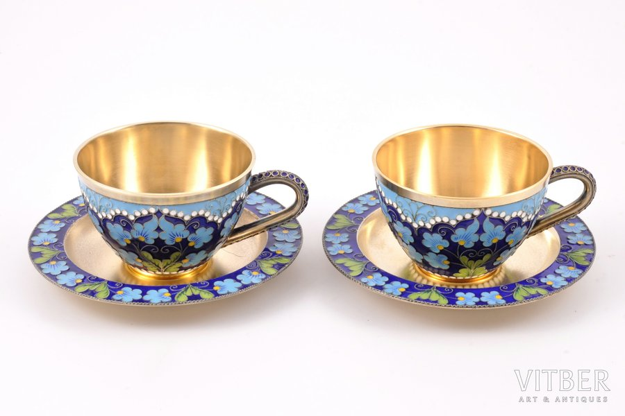 2 tea pairs, silver, 916 standart, gilding, cloisonne enamel, 1966, 354.80 g, Leningrad Jewelry Factory, Leningrad, USSR, h (cup) 4.8 cm, Ø (plate) 10.9 cm