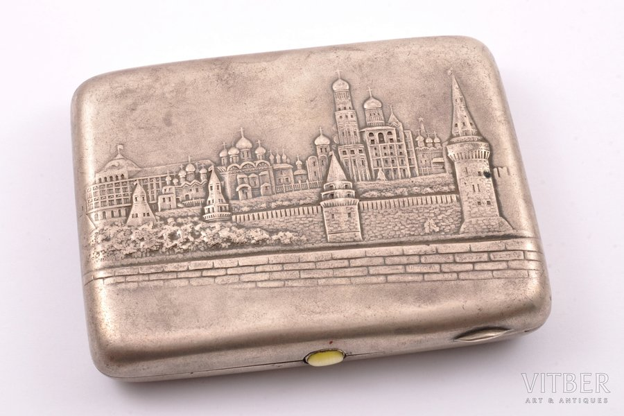 """cigarette case, silver, 875 standart, """"Moscow"""", 1927-1954, 173.75 g, Moscow, USSR, 10.9 x 8.5 x 2 cm"""
