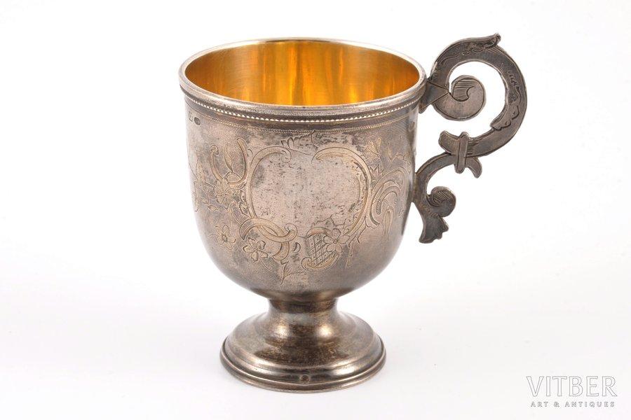 charka (little glass), silver, 84 standart, engraving, gilding, 1880-1890, 74.90 g, Moscow, Russia, h 7.5 cm