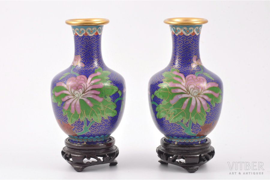 pair of vases, metal, enamel, China, the 50ies of 20th cent., 12.5 cm