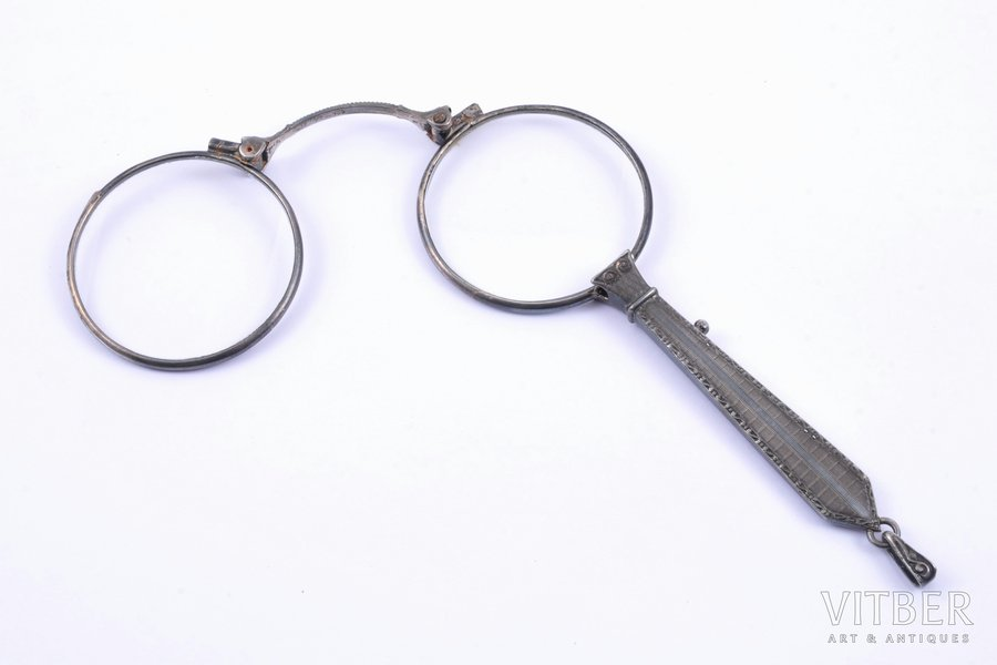 lorgnette, silver, 935 standart, total weight of item  28.95g, (folded) 11.5 x 4.3 cm