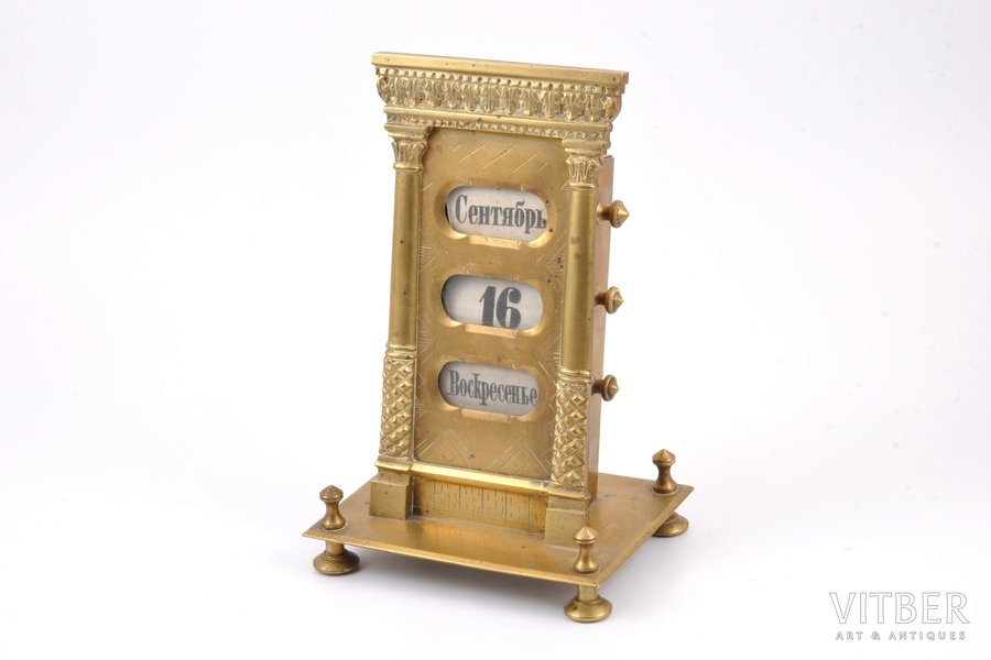 desktop calendar, bronze, Russia, the beginning of the 20th cent., h 19 cm