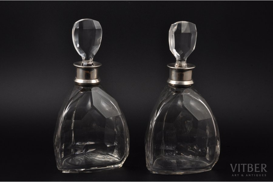pair of carafes, silver, crystal, 950 standart, 1920-1945, (total) 2000 g, Jacques & Pierre Cardeilhac, Paris, France, h (with a lid) 25 cm