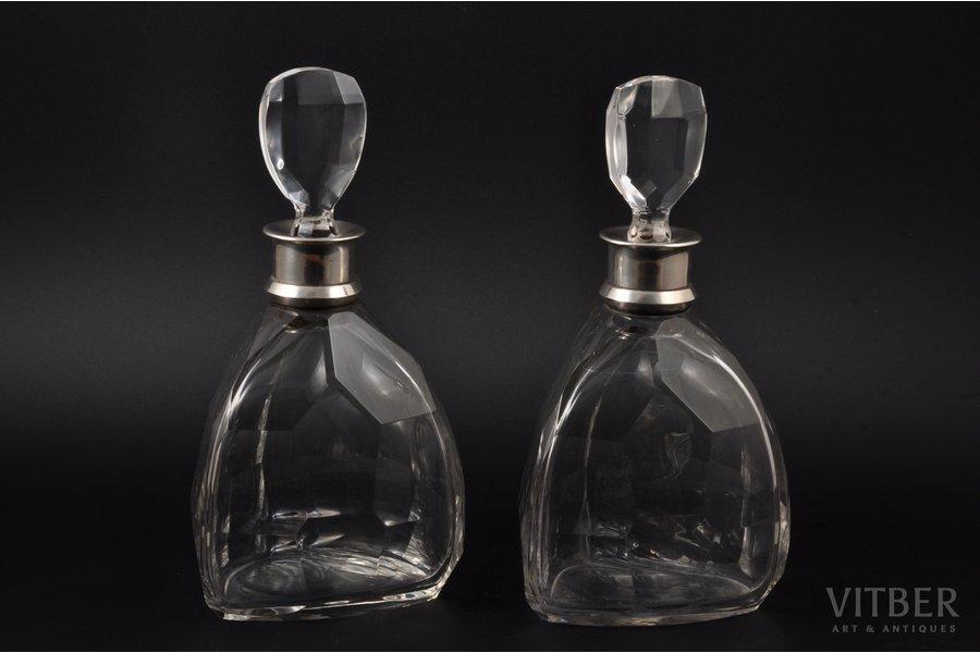 karafju pāris, sudrabs, kristāls, 950 prove, 1920-1945 g., (kopējs) 2000 g, Jacques & Pierre Cardeilhac, Parīze, Francija, h (ar korķi) 25 cm