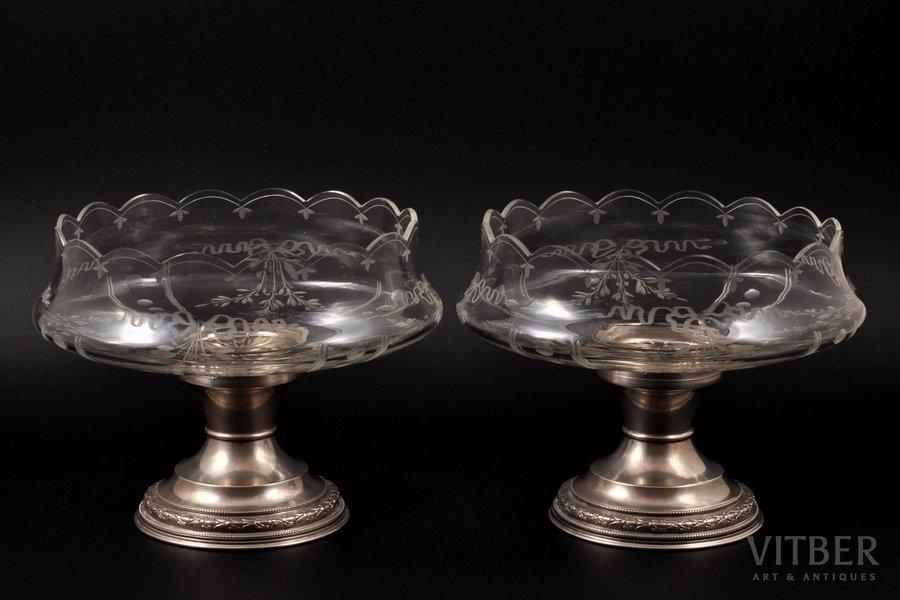 пара конфетниц, серебро, хрусталь, 950 проба, рубеж 19-го и 20-го веков, (общий) 1200 г, Франция, h 15 см