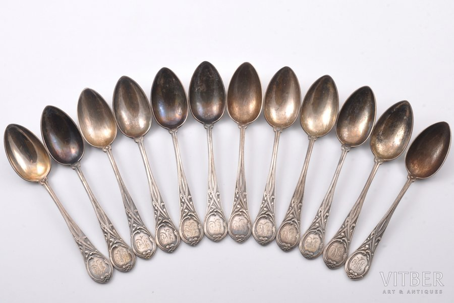 set of 12 teaspoons, silver, 1...