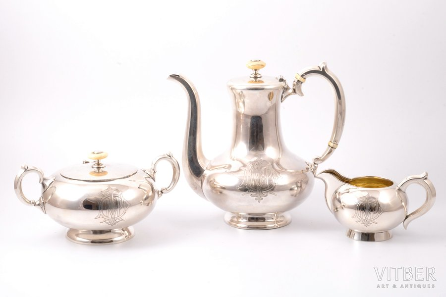 set, sugar-bowl, coffeepot, cream jug, silver, 84 standart, 1892-1893, 1391 g, 753.65 g + 444.7 g + 193g, firm of Gavriil Grachov, St. Petersburg, Russia, h 19 / 9.8 / 7.7 cm
