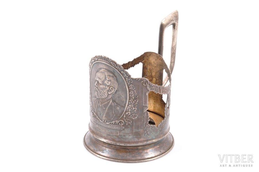 """glāzes turētājs, sudrabs, 875 prove, P. I. Čaikovskis, 1956 g., 104.45 g, artelis """"Maskavas juvelieris"""", Maskava, PSRS, h (ar rokturi) 10.4 cm, Ø (iekšpuse) 6.7 cm"""