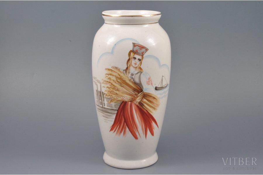 "vase, ""Folk girl"", hand-painted, porcelain, sculpture's work, Riga Ceramics Factory, handpainted by Elizaveta Gegello (Malikova), Riga (Latvia), the 40ies of 20th cent., 21 cm"