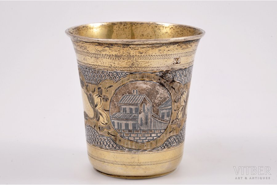 goblet, silver, 84 standart, engraving, niello enamel, gilding, the 2nd half of the 19th cent., 49.80 g, workshop of Ivanov Grigory Ivanovich, Moscow, Russia, h 6.4 cm