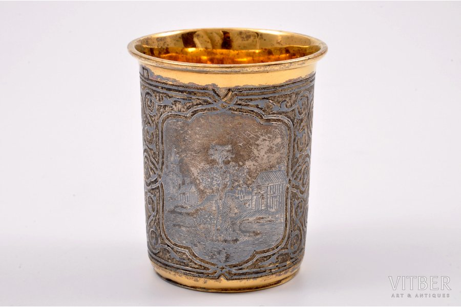 goblet, silver, 84 standart, engraving, niello enamel, gilding, 1852?, 64.05 g, Moscow, Russia, 6.5 cm, by ВС