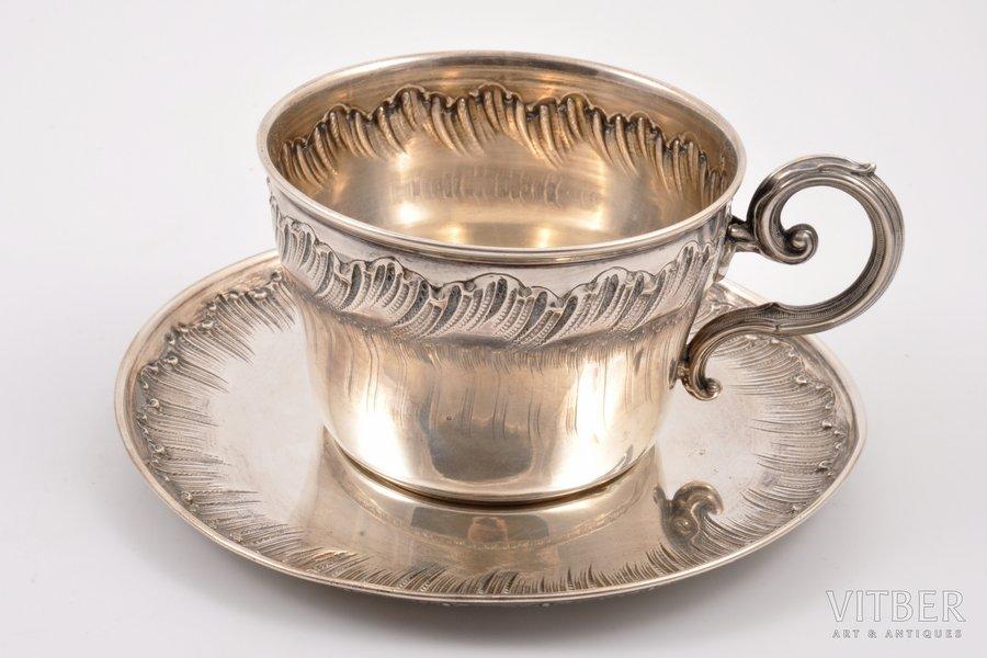 чайная пара, серебро, 950 проба, 1892-1911 г., 264.25 г, Paul Canaux & Cie, Париж, Франция, Ø (блюдце) 15.3 см; h (чашка) 6.7 см