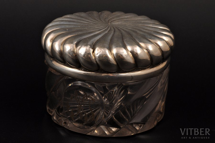 case, silver, glass, 84 standart, gilding, the end of the 19th century, (silver) 72.25g , N. Yanichkin's workshop, St. Petersburg, Russia, Ø 8.5 cm