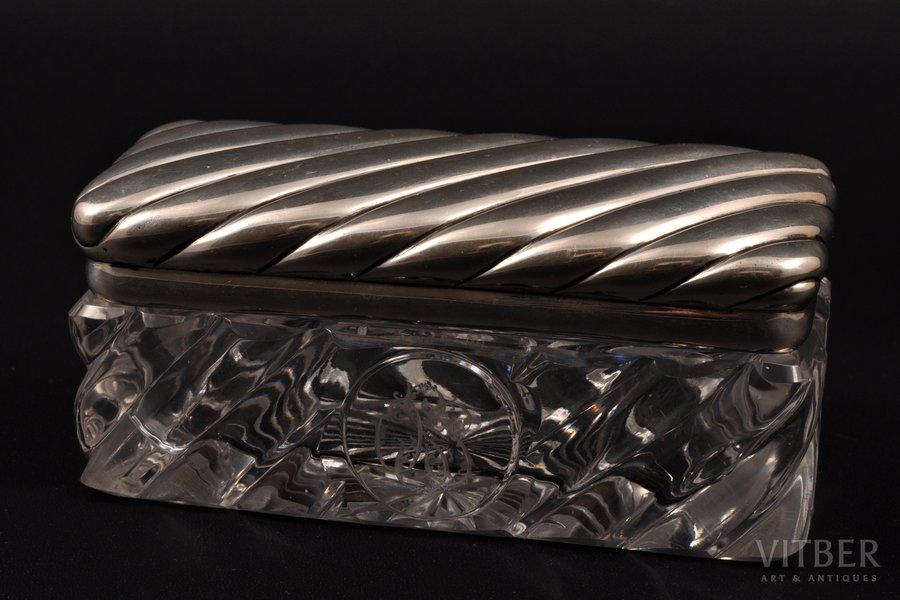 lādīte, sudrabs, 84 prove, stikls, 19. gs. beigas, (серебро) 104.35 g, (sudrabs) 104.35g, N. Jaņičkina darbnīca, Santkpēterburga, Krievijas impērija, 11 x 5 x 5 cm