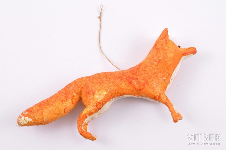 "Christmas tree toy, ""Fox"", papier mache, 14 x 2.4 x 7 cm"
