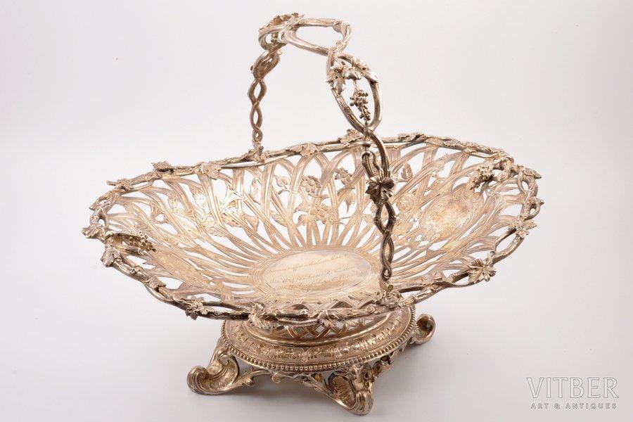 biscuit tray, silver, 950 standart, 1853-1880, ~1500 g, Émile Hugo, Paris, France, 35.8 x 27.4 cm, signs of soldering