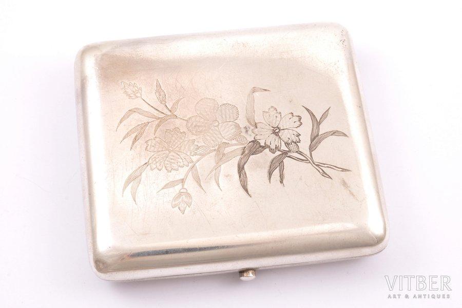 cigarette case, silver, 84 standart, engraving, 1880-1899, 151.60 g, Wilhelm Gabiu, Moscow, Russia, 9.2 x 8.3 x 1.8 cm