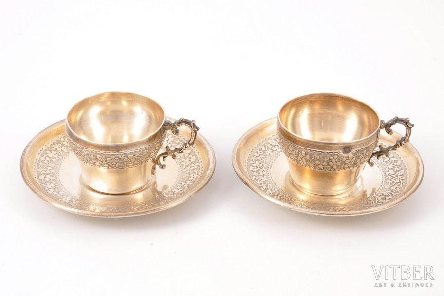 set of 2 coffee pairs, silver, 950 standart, 1884-1910, 135.50 g, Henri Soufflot, France, h (cup) 3.6 cm, Ø (plate) 9.3 cm