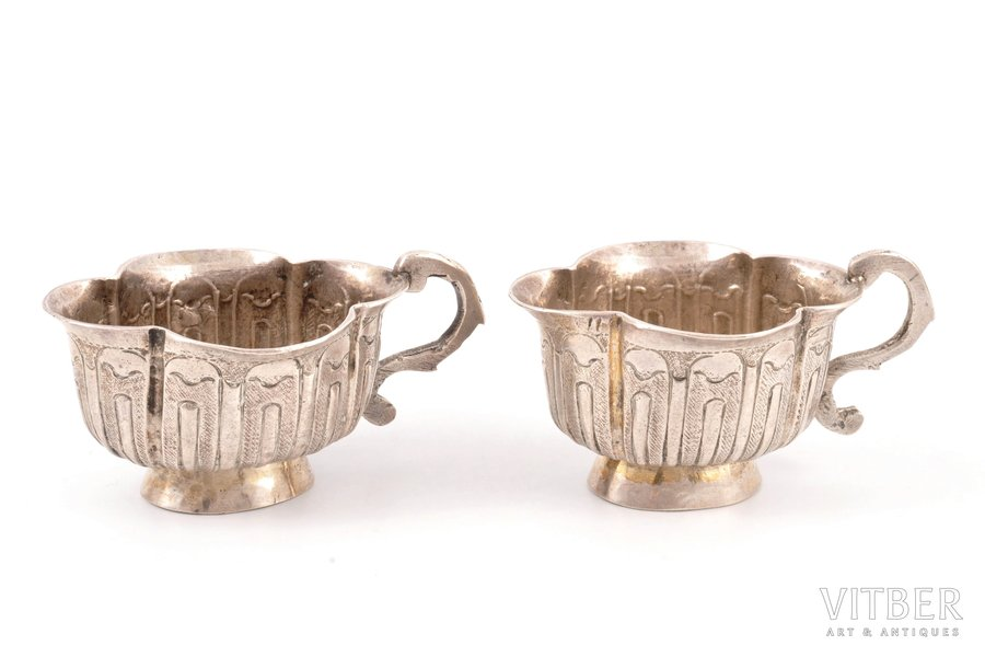 set of 2 charkas (little glasses), silver, 1792, 68.80 g, Savelyev Stepan or Semyonov Savva, Moscow, Russia, h 3.4 cm