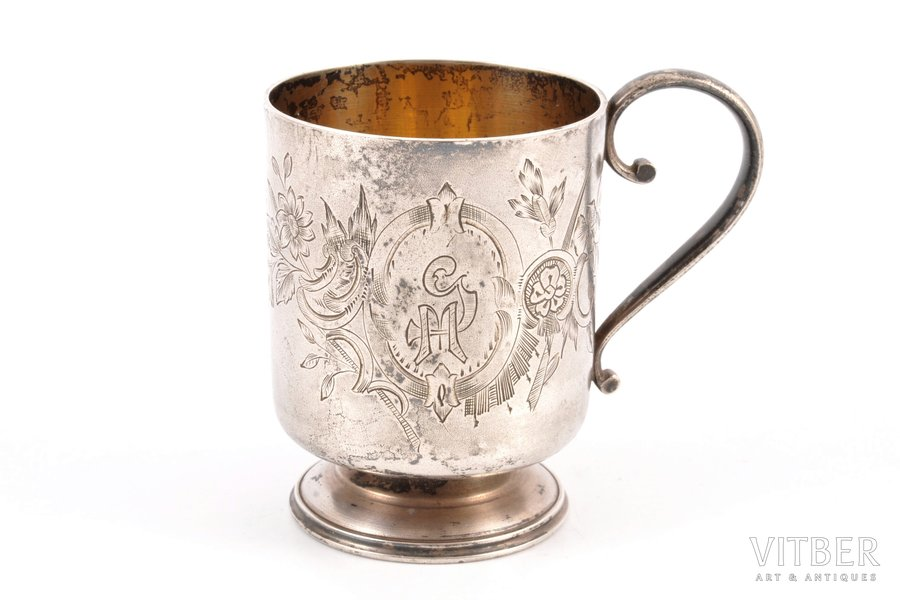 charka (little glass), silver, 84 standart, engraving, 1880-1890, 88.15 g, Moscow, Russia, h 6.9 cm