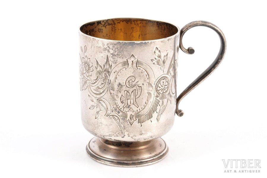 чарка, серебро, 84 проба, штихельная резьба, 1880-1890 г., 88.15 г, Москва, Российская империя, h 6.9 см