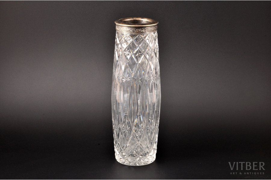 a vase, silver, 875 standart, crystal, 1965, Moscow Jewelry Factory, Moscow, USSR, h 27 cm