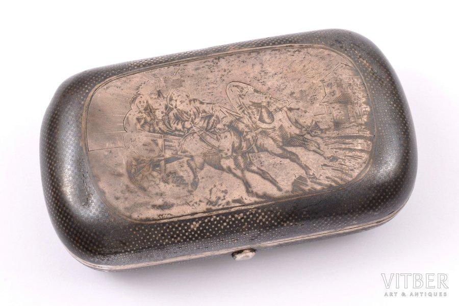 """cigarette case, silver, 84 standart, """"Troika"""", niello enamel, gilding, 1872, 83.75 g, Russia, 8.8 x 5.1 x 2.6 cm"""