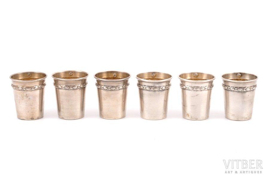 set of 6 beakers, silver, 950 standart, 66.90 g, France, h 4.1 cm