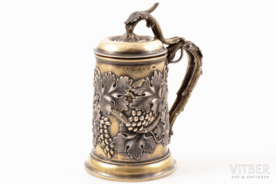 mug, silver, 84 standart, gilding, 1861, 378.65 g, by Carl Gustav Ekqvist, St. Petersburg, Russia, h 15.5 cm