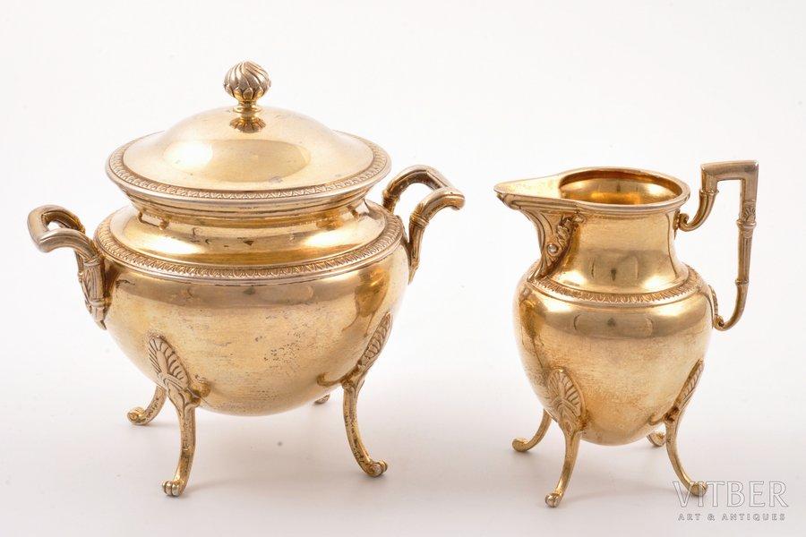 sugar-bowl, cream jug, silver, 950 standart, gilding, the border of the 19th and the 20th centuries, 313.60 g, Henin & Cie, Paris, France, h (cream jug) 8.5 cm, h (sugar-bowl) 10.7 cm
