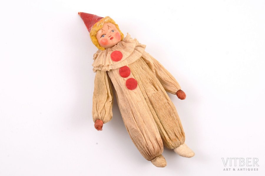 """Christmas tree toy, """"Harlequin"""", the 1st half of the 20th cent., 14.3 cm"""